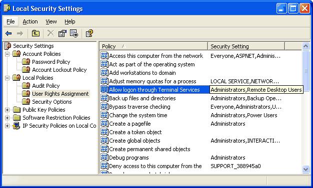 Screen shot showing local security settings